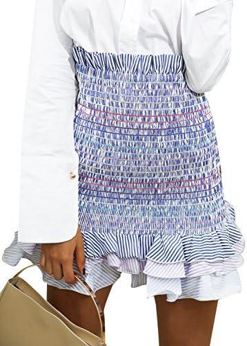 Simplee Women's Boho High Waist Bodycon Stripe Pleated Casual Mini Pencil Skirt