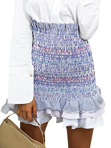 Simplee Women's Boho High Waist Bodycon Stripe Pleated Casual Mini Pencil Skirt,Stripe,One - Pleated Skirt Multi