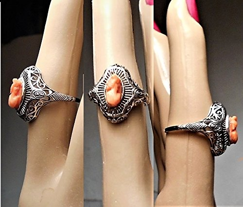 (1 Antique Coral Cameo Sterling RING Filigree Edwardian TINY Genuine Salmon Coral, Marquise Shape Hand Carved, High Relief, Size 7. OOAK.)