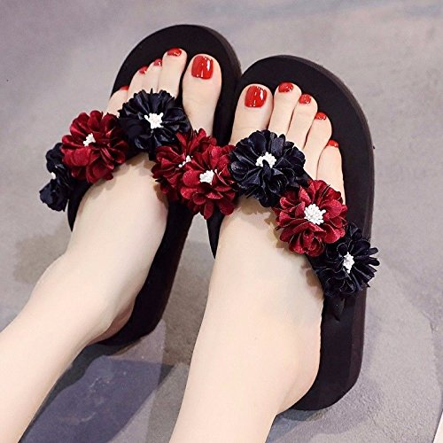 Black flops flip anti XZ flowers British beach slip shoes sandals bottomed LIUXINDA Sandals summer and fashion thick lovely 8T4w8xfFq
