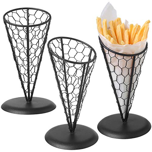 Appetizer Wire Cone Basket - MyGift Set of 3 Black Metal Chicken Wire French Fries Baskets