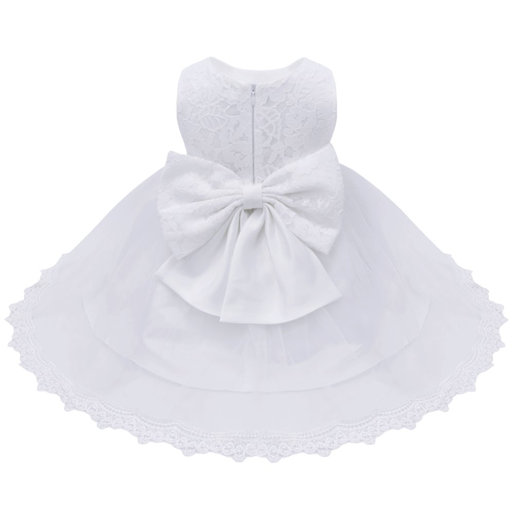 CHICTRY Infant Baby Girls Princess Floral Lace Big Bow Wedding Party Birthday Ball Gown Flower Dress #2 White 6-9 Months