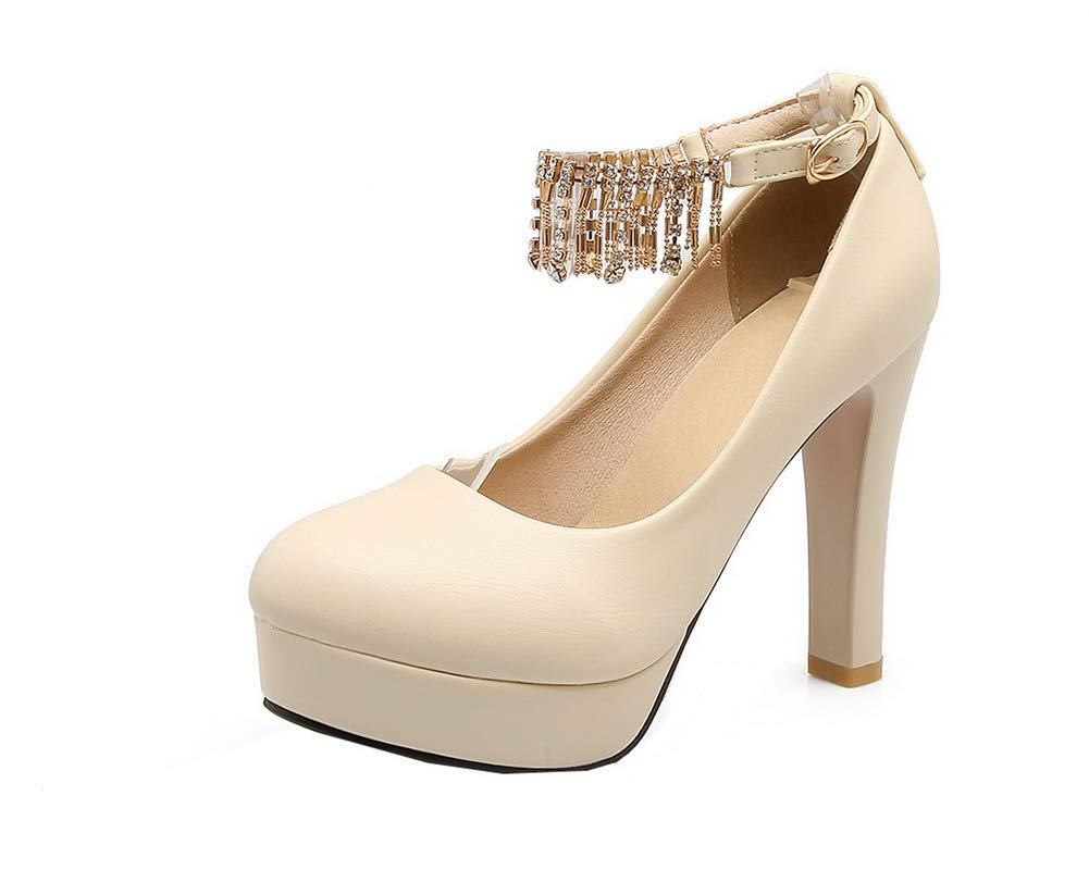AgooLar GMBDB013307 Femme à à Talon Haut Couleur Couleur Unie Boucle Chaussures Légeres, GMBDB013307 Beige f64d58f - tbfe.space