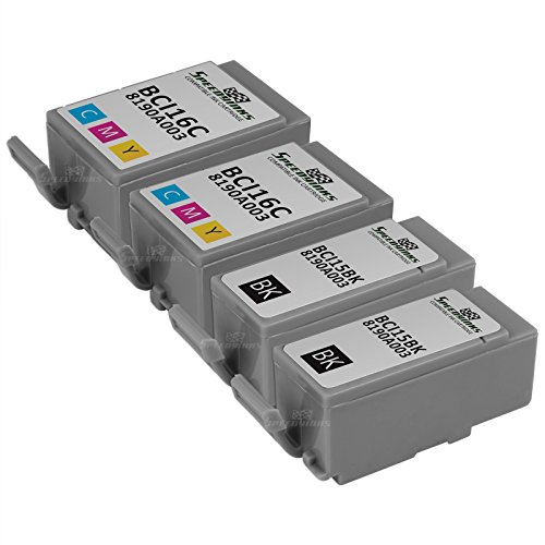 SpeedyInks Compatible 4PK Canon 2 BCI-15 Black 2 BCI-16 color Ink Cartridges for use in Canon Portable Printers PIXMA iP90 PIXMA iP90V SELPHY DS700 SELPHY DS810
