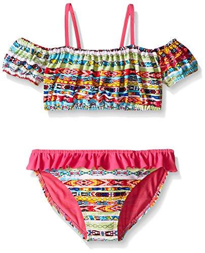 Jessica Simpson Big Girls Two Piece Off She Shoulder Bikini, Multi, 7