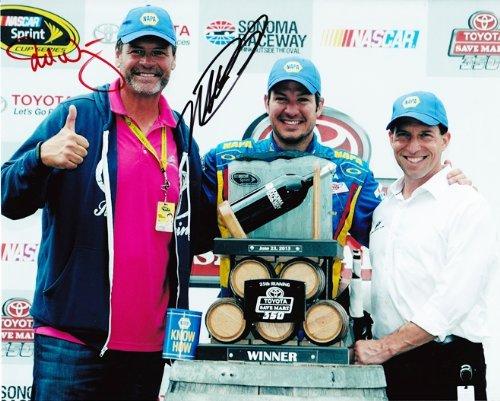 *2X AUTOGRAPHED* 2013 Martin Truex Jr. & Michael Waltrip #56 NAPA Racing SONOMA WIN (Victory Lane) SIGNED NASCAR 8X10 Glossy Photo w/COA
