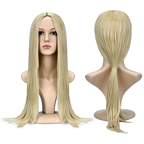 AnotherMe Women's 27.5 Inches Long Blonde Straight Silky Hair Wig Central Parting Yaki Heat Resistant Synthetic Fiber Cosplay Party Accessories