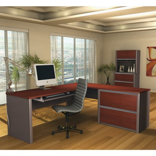 Bestar Office Space Corner - Bestar Office Furniture Connexion Collection Bordeaux Cherry Reversible L-Desk Office Set