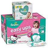 Pampers Bundle - Easy Ups Training Pants Pull On Disposable Dispers for Girls, Size 4 (2T-3T), 140 Count, ONE MONTH SUPPLY with Baby Wipes Sensitive 6X Pop-Top Packs, 336 Count