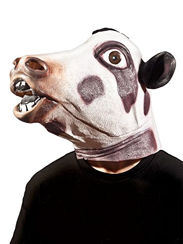 (Morbid Enterprises Cow Head Mask, Black/White, One)