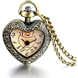 JewelryWe Mother's Day Gift Women Vintage Bronze Heart Pendant Quartz Pocket Necklace Watch with 30 inch Chain