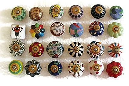 Set di 24 pomelli in ceramica manopole cucina manopole ...