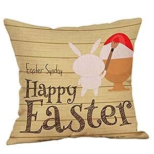 LEEDY 2019 Pascua Feliz Algodón Cuadrado Conejo Throw Pillow ...