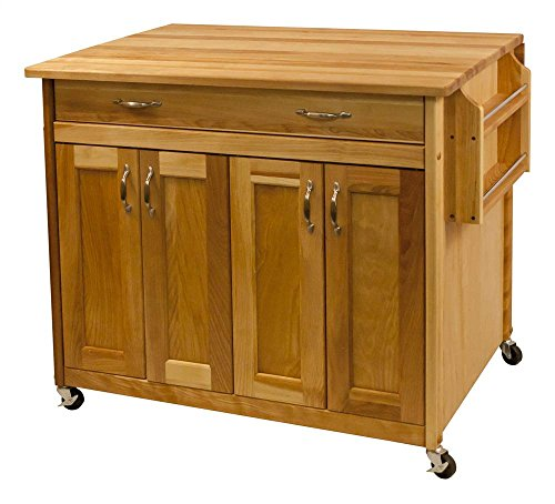 Catskill Craftsmen Deep Island with Flat Panel Doors and Drop Leaf