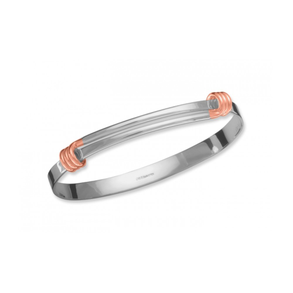 Ed Levin, Signature Bangle Bracelet, .925 Sterling Silver and 14k Rose Gold Accent