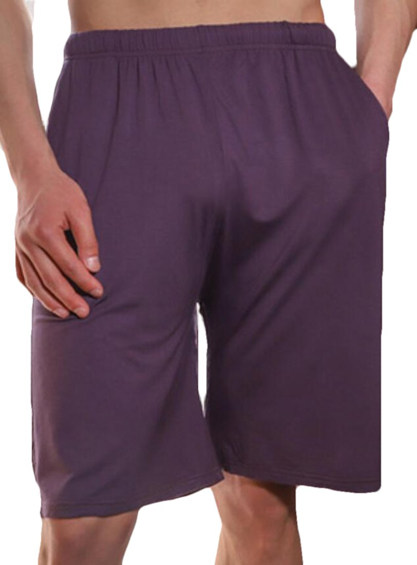 JXG-Men Sport Solid Shorts Sleep Lounge Shorts Pajama Bottom Pants Purple US S
