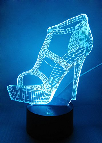 Loveboat USB Powered 7 Colors Amazing Optical Illusion 3D Glow LED Lamp Art Sculpture Lights Produces Unique Lighting Effects and 3D Visualization for Home Decor (Fashion High Heel)