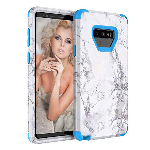 Price comparison product image Buybuybuy Galaxy Note 9 Case,  Granite Marble Contrast Color PC Hard Phone Cover Hybrid Shockproof Hard Back Durable Bumper Protective Phone Case Cover for Samsung Galaxy Note 9 (2018) (blue)