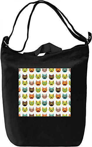 Animated Cats print Borsa Giornaliera Canvas Canvas Day Bag| 100% Premium Cotton Canvas| DTG Printing|