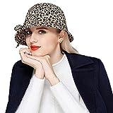 Leopard Floppy Bucket Hat Vintage Wool Fedora Hats Bowler Bowknot Cloche Hats