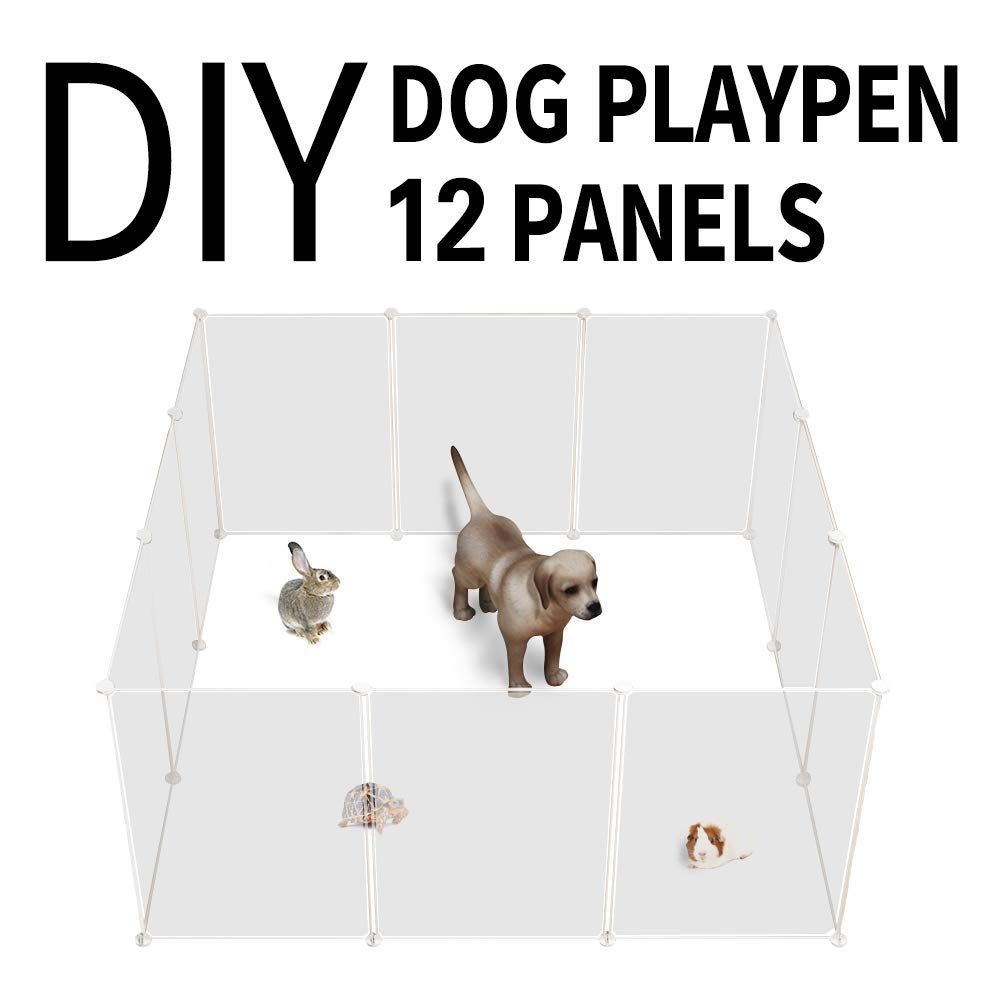 Transparent playpen Allisandro Portable Pop-Up Pet Fence, Cage, Playpen, DIY Exercise Yard Kennel Transparent White for Dogs, Cats, Small Pets 12 Panels