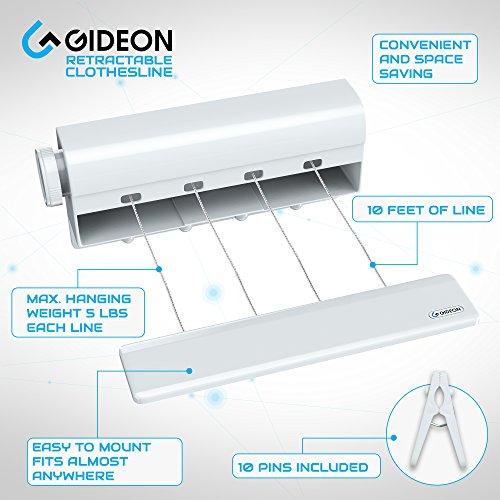 Amazon.com: Gideon Indoor 4 Line Retractable Clothesline U2013 Clothes Dryer  With 4 Bonus Hanging Hooks   Instantly Adds 40 Feet Of Drying Space U2013  Includes 10 ...