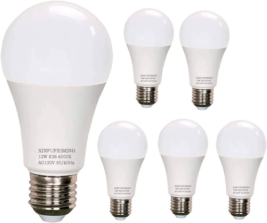 Led Bulb 6 Pack A19 LED Light Bulbs, 100 Watt Equivalent LED Bulbs, 6000K Daylight White, No Flicker E26 Edison Medium Screw Base Bulbs, 1200Lumens, Non Dimmable (Cool White)