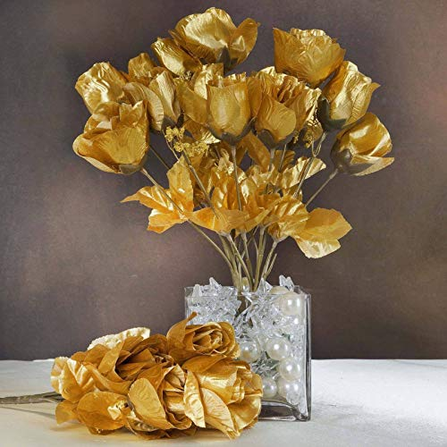 Efavormart 84 Artificial Buds Roses for DIY Wedding Bouquets Centerpieces Arrangements Party Home Decoration Supply - Gold