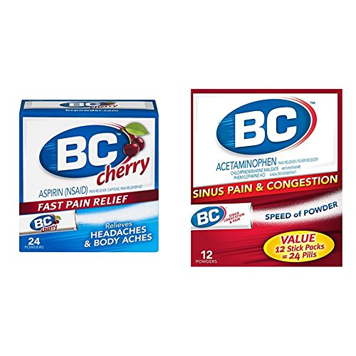 BC Aspirin Fast Pain Relief Powder-Cherry Flavored-24 Powders & BC Sinus Congestion & Pain Fast Cold & Flu Relief Powder Sticks, Pack of 3 (Cherry Aspirin)