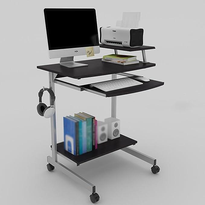 XIA Mesa de Teclado Moderna de Roble Color granulado Negro Escritorio de la computadora Protección del Medio Ambiente móvil de la casa portátil Ahorro de Espacio de Mesa 700 * 525 *