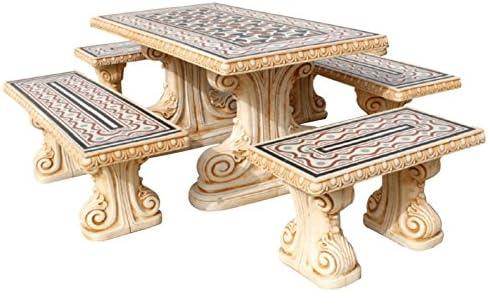 Tavoli Di Pietra Da Giardino.Degarden Set Di Tavolo Pranzo Rettangolare E Panche Da Giardino O