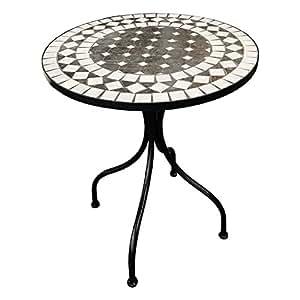 Decorativa mediteraner mosaico circular de mesa diseño mosaico mesa mesa de jardín muebles de jardín Bistro Mesa 60x 70cm antracita/gris