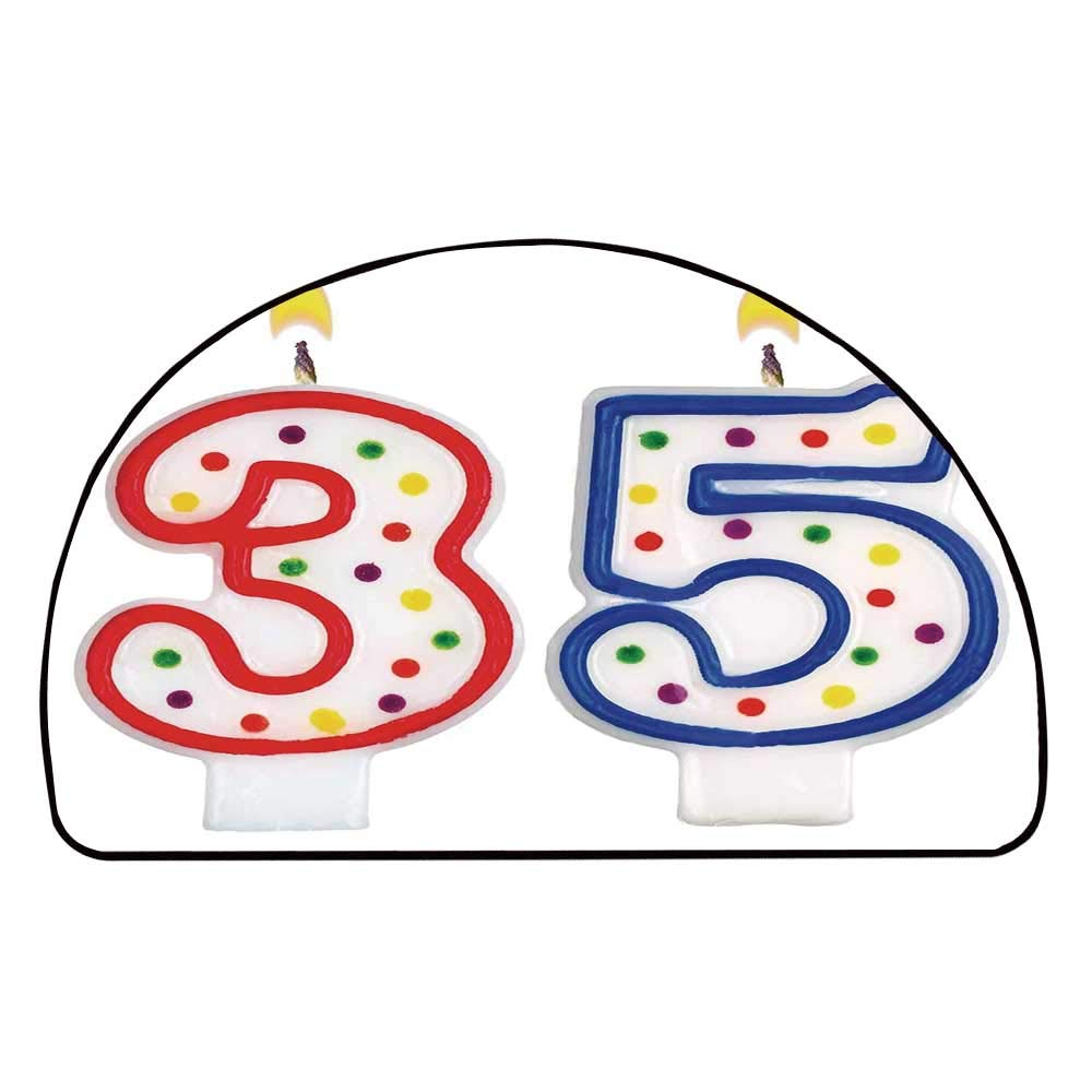 C COABALLA 35th Birthday Decorations Comfortable Semicircle Mat,Surprise Party Event Objects Number Candles Age Thirty Five for Living Room,11.8'' H x 23.6'' L