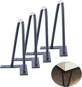 Osring 7 Inch Hairpin Table Legs Black, Heavy Duty Metal Furniture Hairpin Feet, Mid-Century 2 Rods Furniture Leg for TV Stand and Home DIY Project, 4 Pack