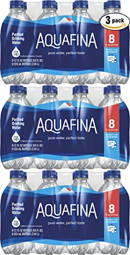 Aquafina Water, 12oz Bottle (Pack of 3, Total of 24 (12 Ounce Bottle Water)