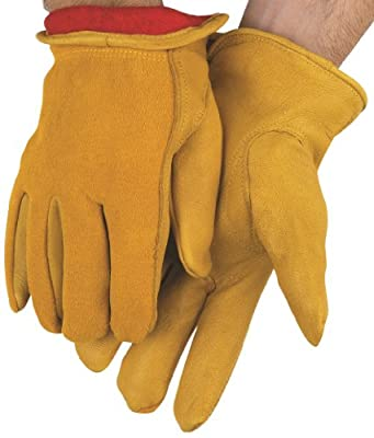 MCR Safety 3555XL Grain Deerskin Red Fleece Lined Split Back Driver Gloves with Keystone Thumb, Yellow, X-Large, 1-Pair