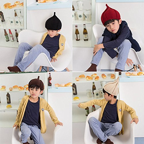 XENO-Trendy Winter Kids Pointy Knitted Beanie Boy Girl Twist Hat Children Pointed Cap(black)