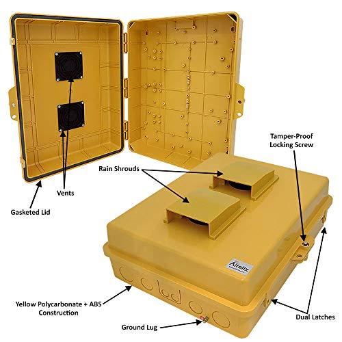 Altelix Vented Yellow NEMA Enclosure (14'' x 9'' x 4.5'' Inside Space) Polycarbonate + ABS Tamper Resistant Weatherproof by Altelix (Image #1)