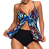 Yonique Women Two Piece V-Neckline Strappy Polka Dot Tankini Top with Bikini Bottom Black