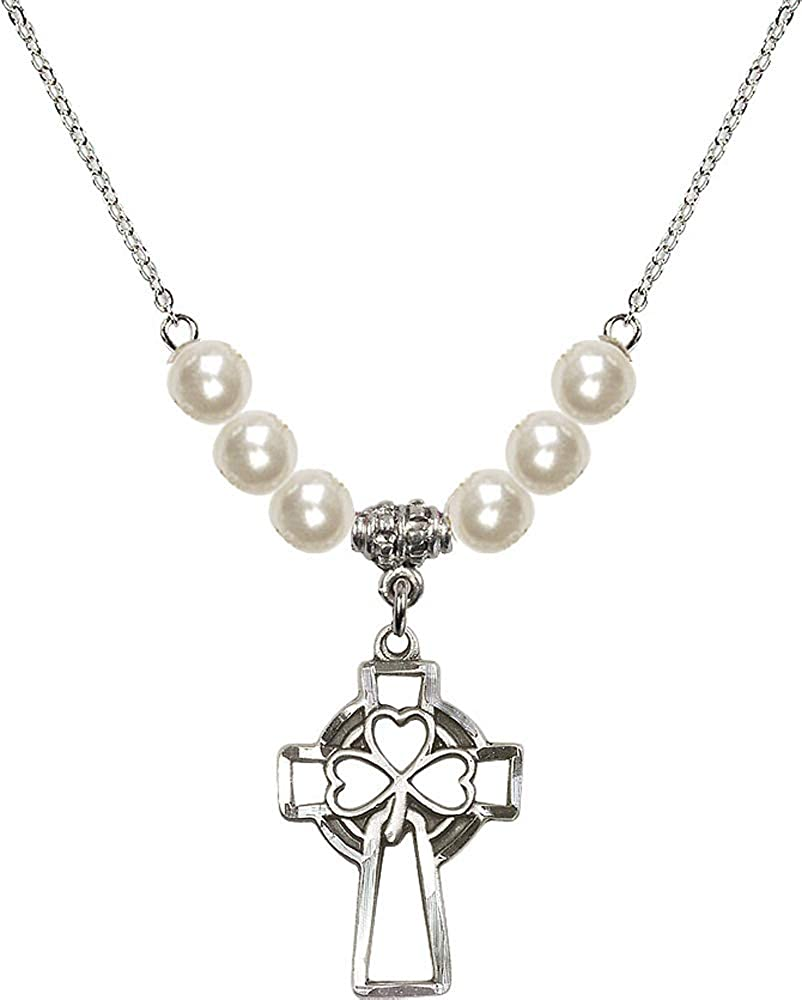 18-Inch Rhodium Plated Necklace with 6mm Faux-Pearl Beads and Sterling Silver Cross Charm.