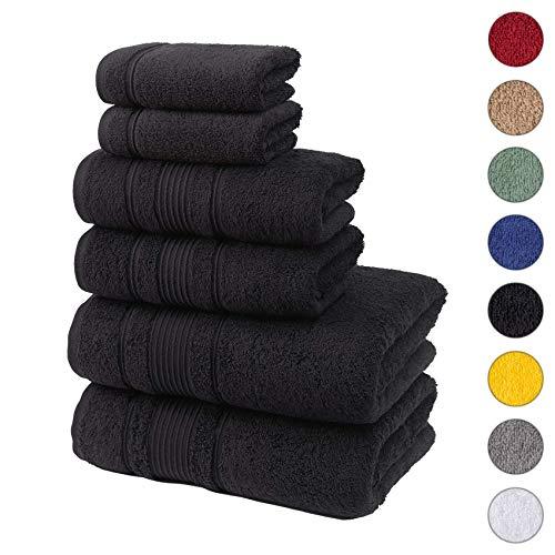 Qute Home Spa & Hotel Towels 6 Piece Towel Set, 2 Bath Towels, 2 Hand Towels, and 2 Washcloths - Black (Target Orange Rug)