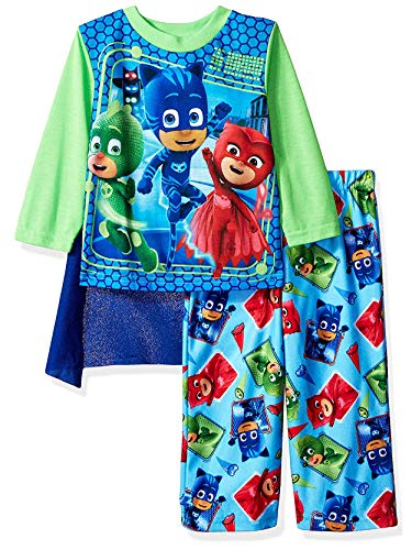 PJ Masks Toddler Boys Long Sleeve Pajamas with Cape (3T, Blue/Green)