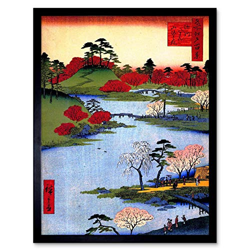 Wee Blue Coo Painting Japanese Woodblock Colourful Trees River Art Print Framed Poster Wall Decor 12x16 inch