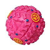 PINK Treat Dispensing Dog Toy Ball Food Dispenser Squeak IQ Smart Doggie Interactive