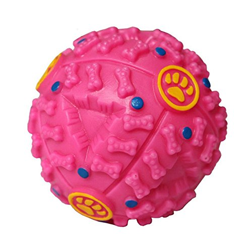 PINK Treat Dispensing Dog Toy Ball Food Dispenser Squeak IQ Smart Doggie Interactive by Unknown