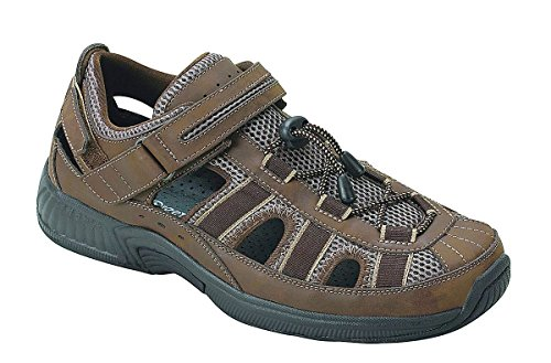 Orthofeet Clearwater Comfort Diabetic Mens Orthopedic Sandals Fisherman Brown Leather 10 M US