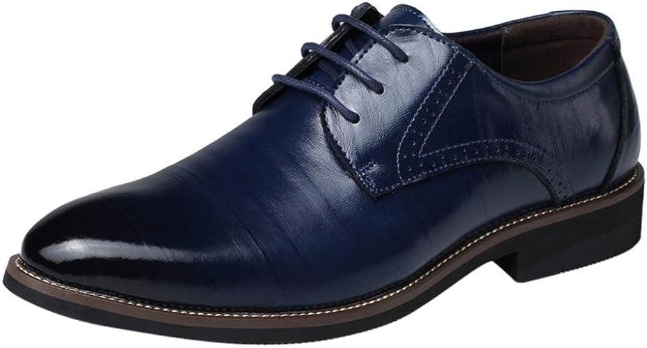 Zapatos Oxford Cómodos Casual para Hombre,ZARLLE Oxford con Cordones Brogue Vestir Derby Informal Negocios Boda Calzado Respirable Negro Marrón 38 47