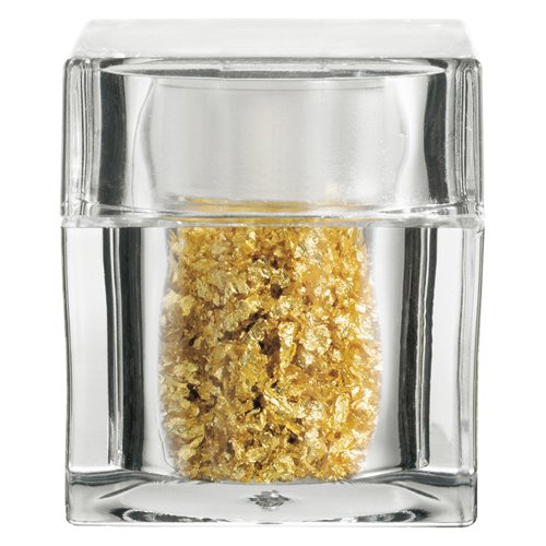 - Edible Gold Leaf Flakes in Clear Acrylic Cube Shaker. 100mg.