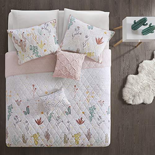 Urban Habitat Kids Desert Bloom 100% Cotton Printed Reversible Floral 5 Piece Quilt Coverlet Bedspread Bedding Set, Full/Queen Size, Red Multi