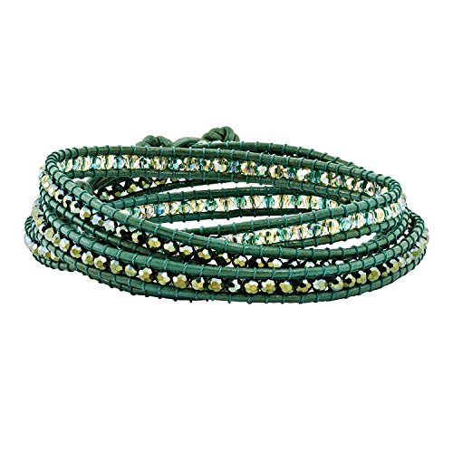 Green Leather Green Crystal Beaded Multi Wrap Brass Button Bracelet